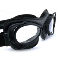 Nannini Streetfighter Black Framed Goggles with Black Leather Facemask