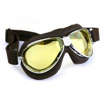 Nannini TT Chrome Metal Frames with Brown Leather Motorcycle Goggles