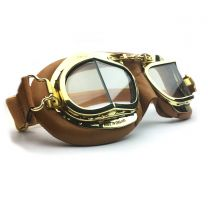 Halcyon Mark 49 Premium Tan Leather Goggle Close up