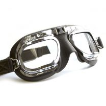 Retro Racing Goggles, Black Leather with Chrome Frames
