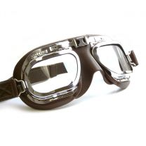 Retro Racing Goggles, Brown Leather with Chrome Frames