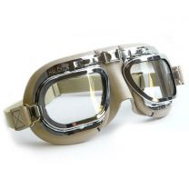 Retro Racing Goggles, Stone Coloured Leather with Chrome Frames
