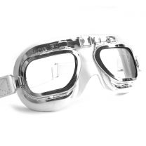 Retro Racing Goggles, White Leather with Chrome Frames