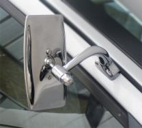 The Halcyon Universal Door Mounted Classic Car Mirror with a rectangular head
