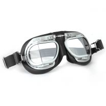 Halcyon Mark 9 Vintage Black Leather Motorcycle and Aviator Goggles