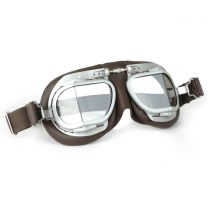 Halcyon Mark 9 Vintage Brown Leather Motorcycle and Aviator Goggles