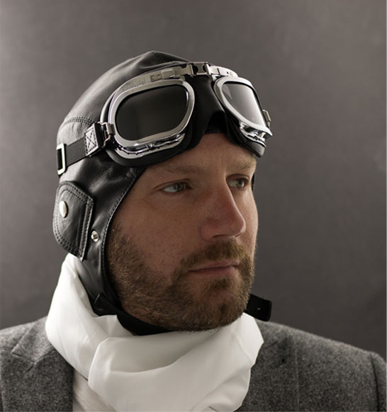 Black Leather with Chrome Framed Goggles